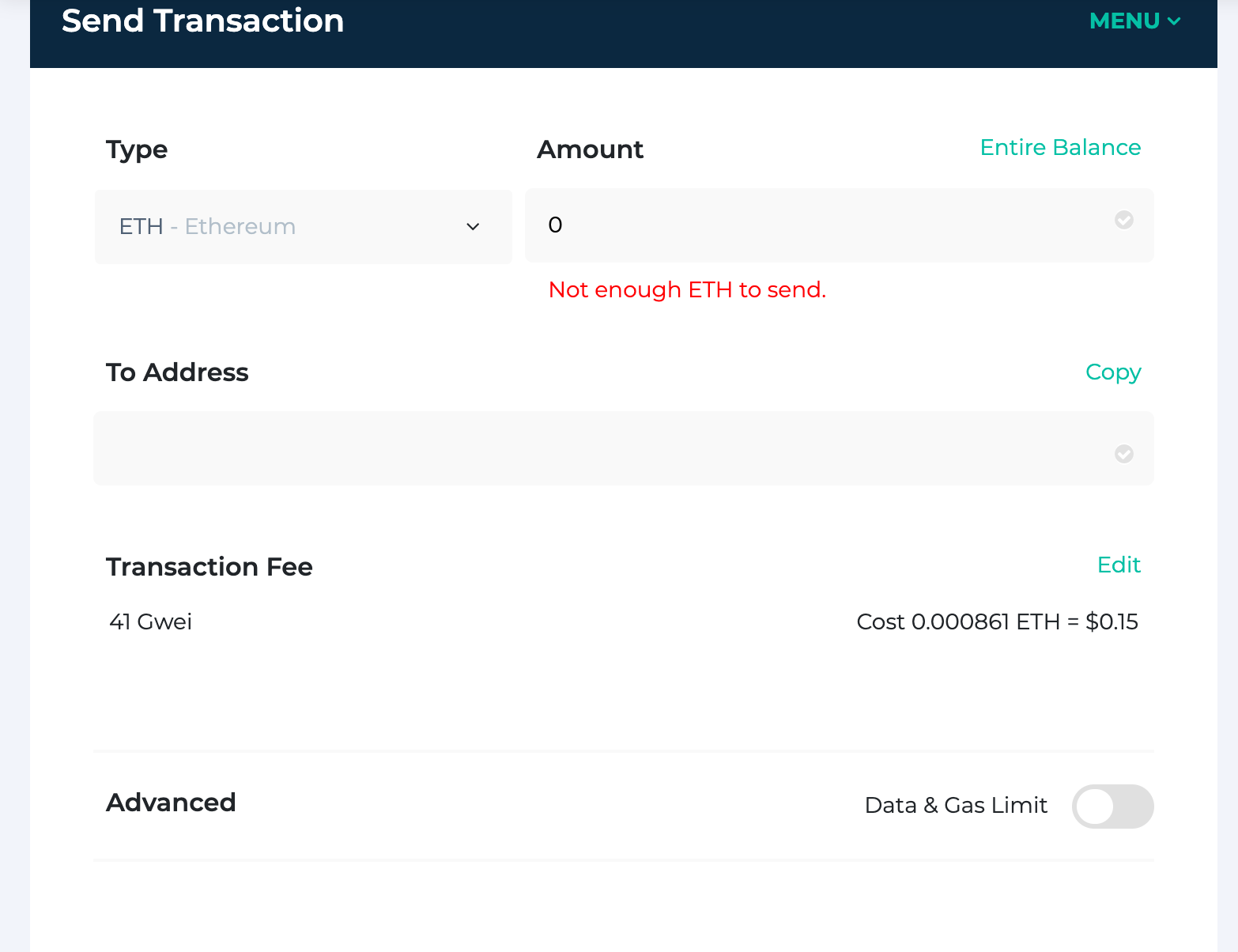 Click 'Edit' across from 'Transaction Fee' on the Send Transaction page.