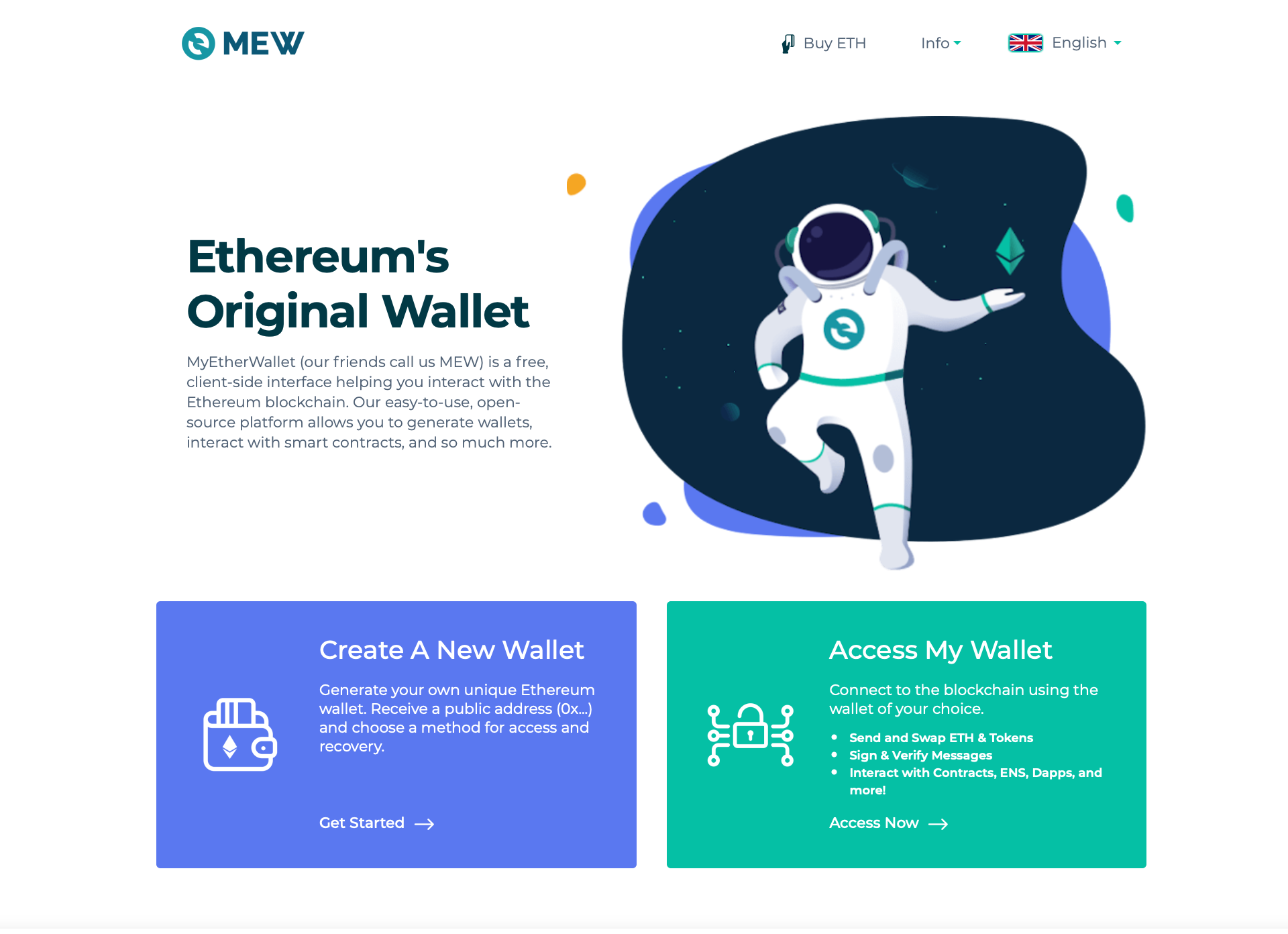 MEW web homepage