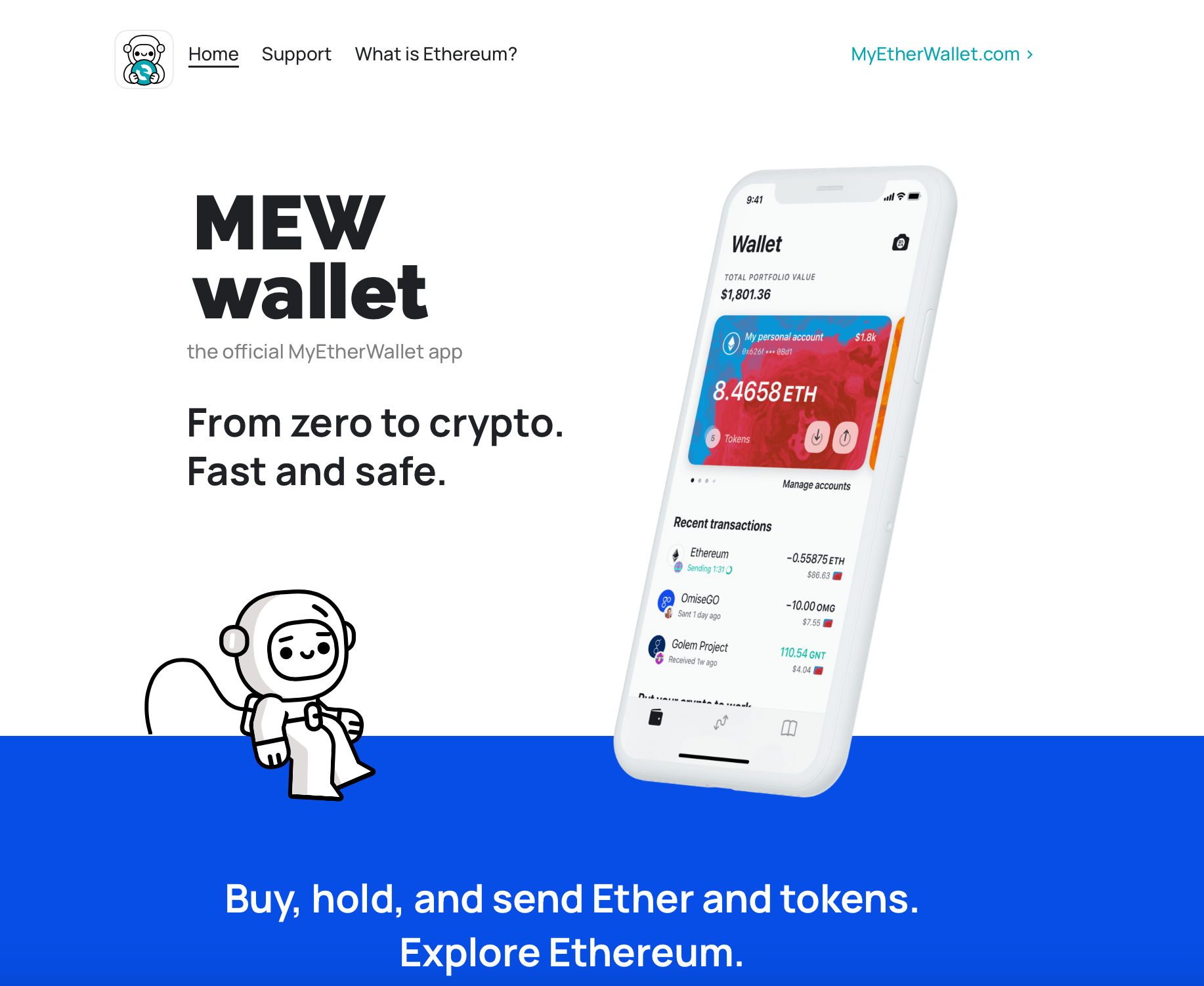 MEW wallet app home page