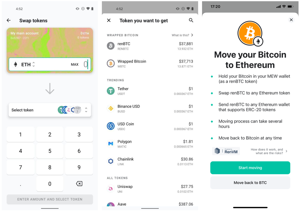 Swap tokens and move your Bitcoin to Ethereum