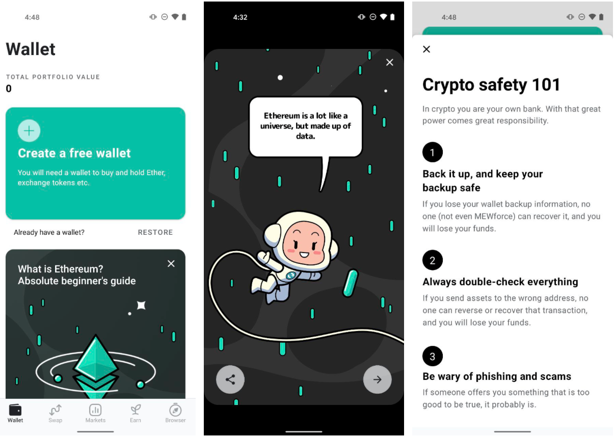 Create a new wallet, learn about Ethereum, read safety warning